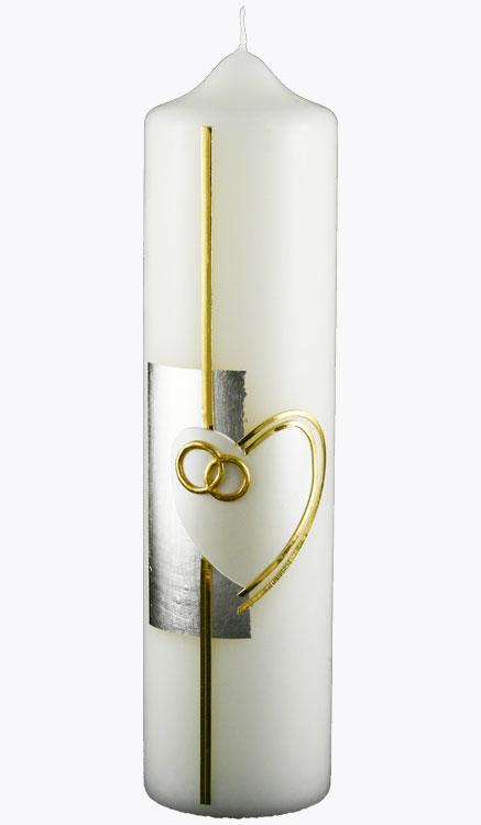 Hochzeitskerze, 4406, 275x70, weiß, Herz-silber