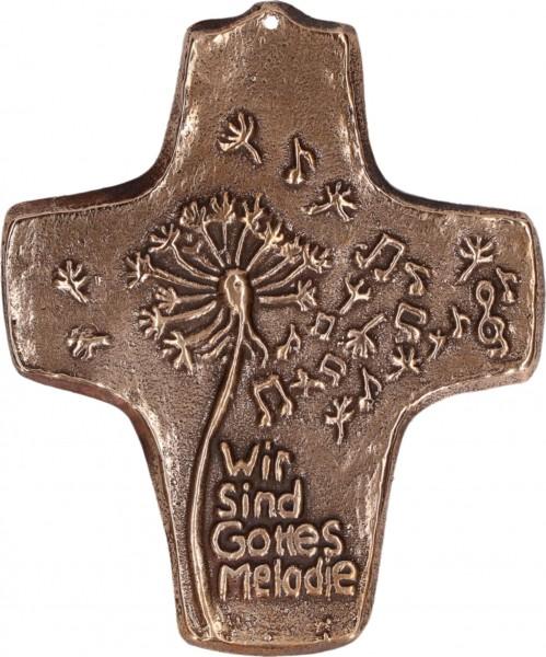 Bronzekreuz, 142221, Wir sind Gottes Melodie, Höhe 9,8 cm