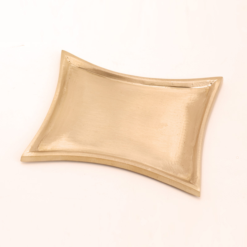Trapezleuchter klein, gold matt, 11x7cm, für Ovalkerze B: 9cm, [6]