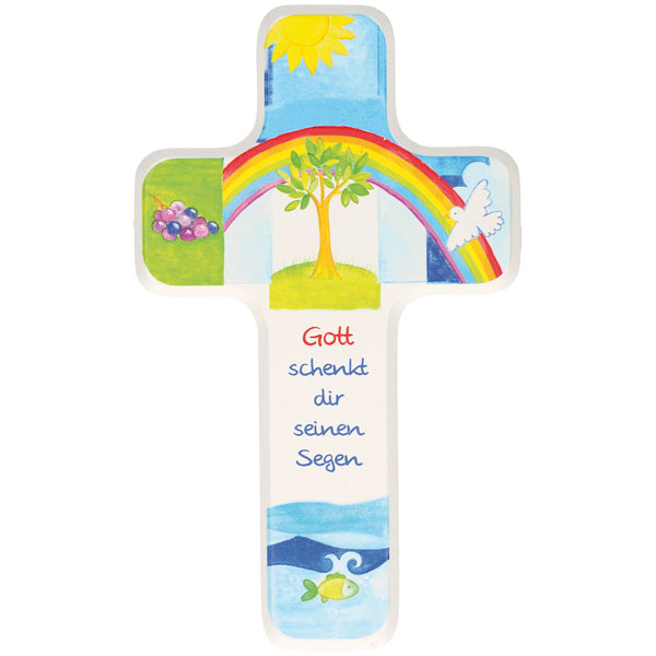 Holzkreuz 330179, h=18cm, Gott schenkt dir seinen Segen, weiß lackiert