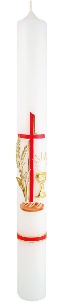 Kommunionkerze, 5802, 400x40, weiß, Brot & Wein, rot, gold