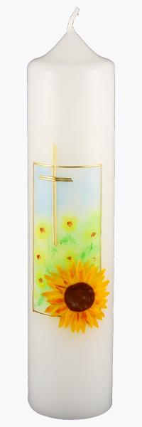 Kommuniontischkerze, 4848, 265x60, weiß, Sonnenblume, Kreuz, gerahmt
