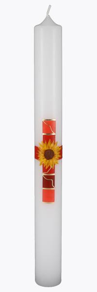 Kommunionkerze, 5847, 400x40, weiß, Sonnenblume, Kreuz, rot, gold