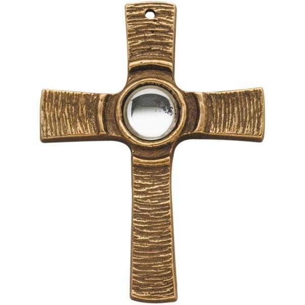 Bronzekreuz 142096, h=7,5cm, Kreuz mit klarem Stein