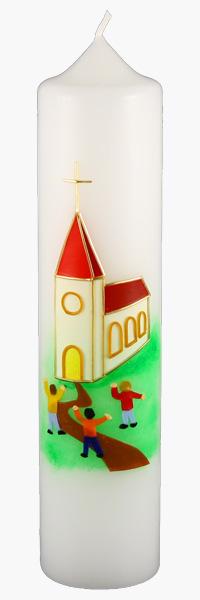 Kommuniontischkerze, 4854, 265x60, weiß, Das Haus Gottes lebt, Kirche