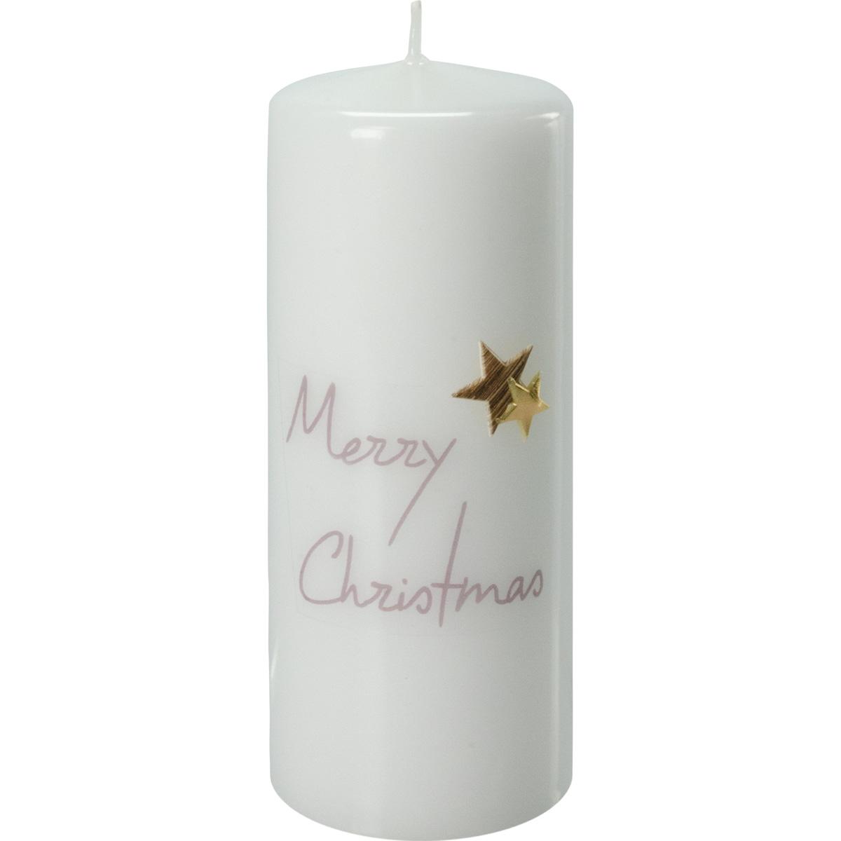 Weihnachtskerze, 2768, 15 x 6 cm, weiß, Merry Christmas