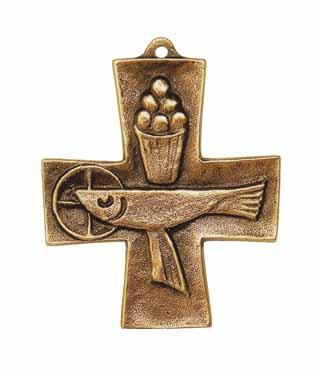 Bronzekreuz, 101, Fisch+Brot, h=9cm