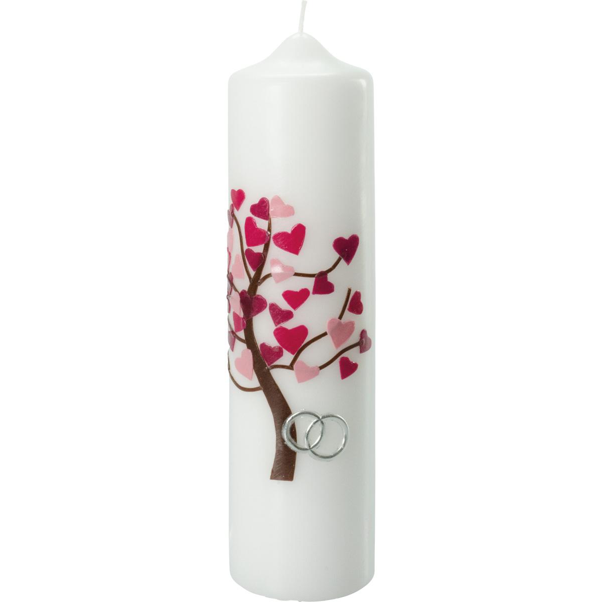 Hochzeitskerze, 5003, 275x70, Lebensbaum, rosa-rote Herzen, silber
