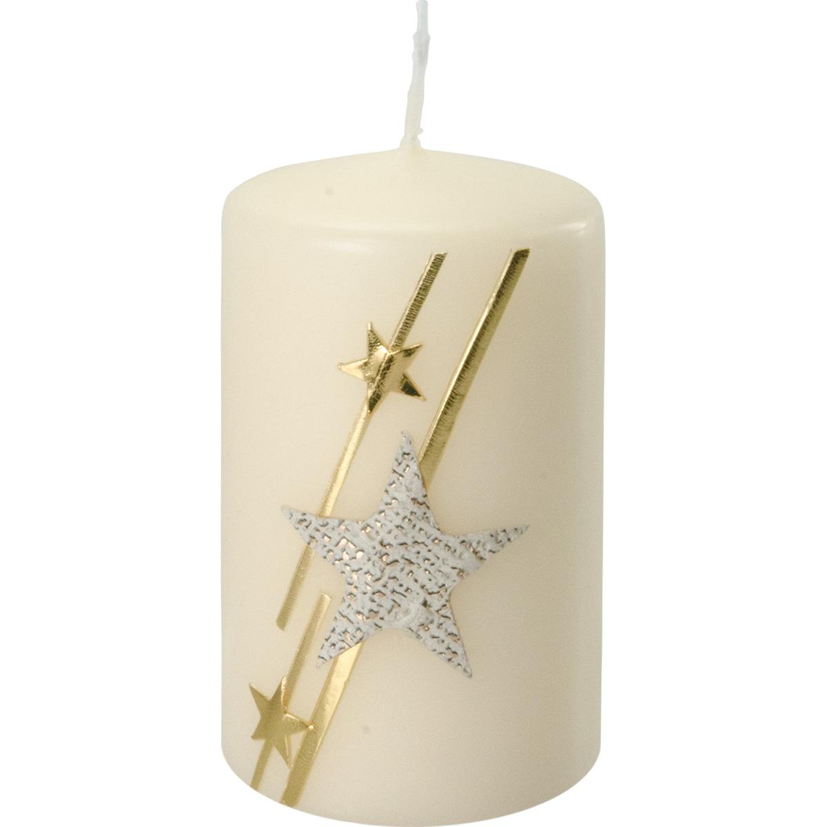 Weihnachtskerze, 2738, 10 x 6 cm, creme, Stern