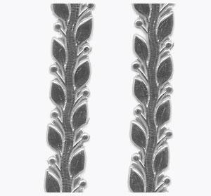 Wachsauflage, Blätterranke, silber, 255 x 10 mm