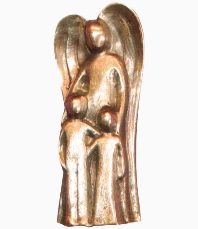 Schutzengel mit zwei Kindern, Bronze, Nr. 1187372, Höhe 5cm, m. Karton