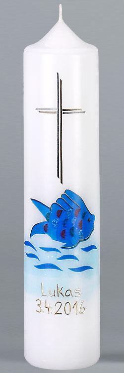 Kommuniontischkerze, F4882, 265x60, weiß, Fotodruck, Fisch