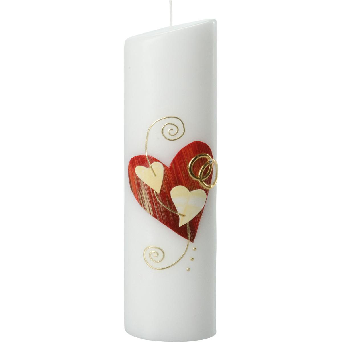 Hochzeitskerze, 278, Oval 240x65x45, Herz-rot, Herzen-weiß-creme, gold