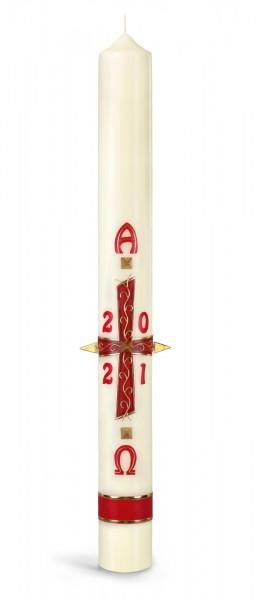 Osterkerze, Kreuz rot, mit goldenen Wachsnägeln