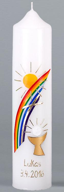 Kommuniontischkerze, 4868, 265x60, weiß, Regenbogen Sonne Kelch, gold