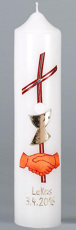 Kommuniontischkerze, 4871, 265x60, weiß, Kreuz, Kelch, Hände, rot gold