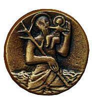 Christophorusplakette CH2, bronze, Durchm. ca. 4,5cm