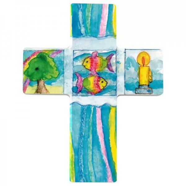 Holzkreuz, Nr. 810136, Baum, Fische, Kerze, 9 x 7 cm, Holz bedruckt