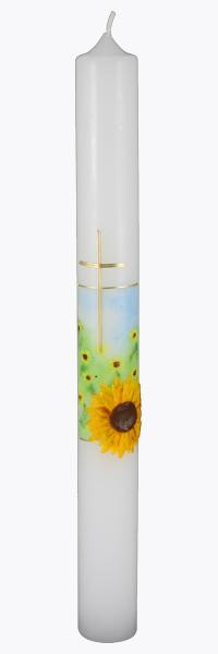 Kommunionkerze, 5848, 400x40, weiß, Sonnenblume, Kreuz, blau grün gold