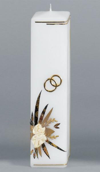 Hochzeitskerze, 17, Vierkant 250x60, gold, ---Abverkauf---