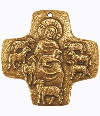 Bronzekreuz, 802035, Der gute Hirte, 7x7cm