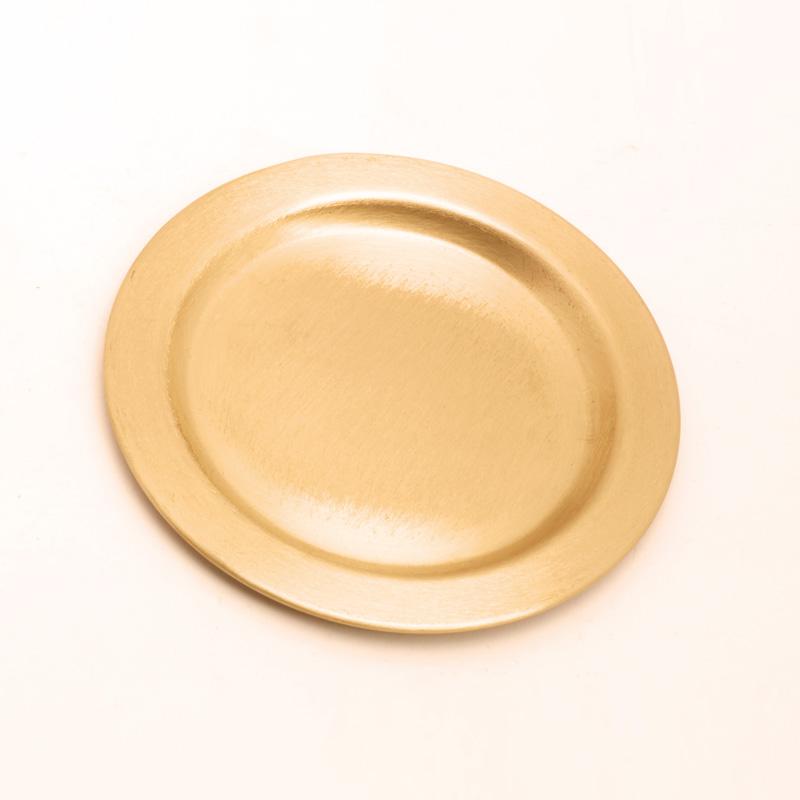 Kerzenteller rund, gold matt, leicht, 14cm, für Kerzen bis Ø8cm, [12]