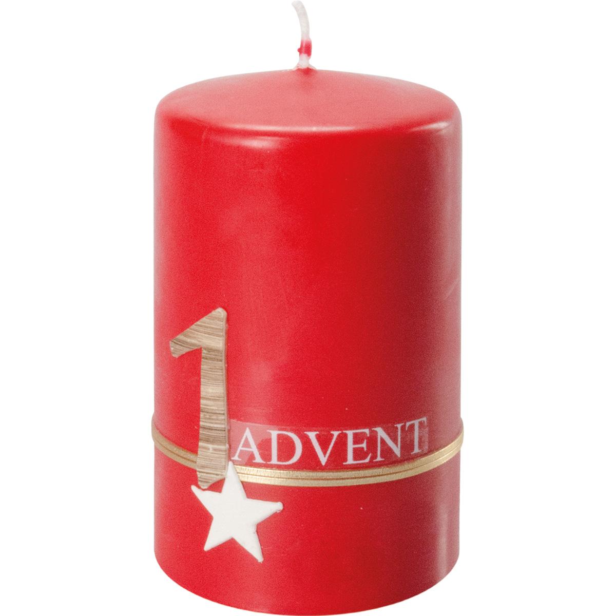 4 Adventskerzen, #351, 10 x 6 cm, rubin, Advent 1 - 4