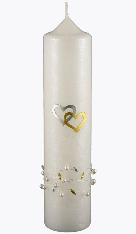 Hochzeitskerze, 4419, 265x60, silberstruktur, Herzen silb-gold, Perlen