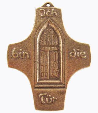 Bronzekreuz, 802028, Ich bin die Tür, 9,8 x 7,5 cm