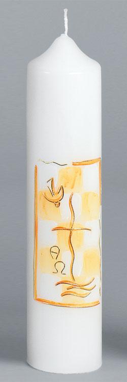 Taufkerze, 2043, 265x60, Kreuz, orange, gold, ---Abverkauf---