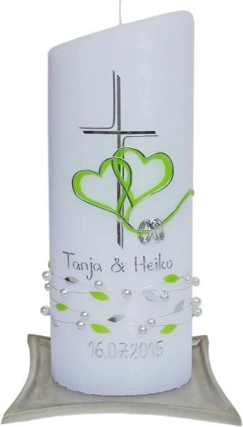 Hochzeitskerze #4424, Oval 230x90x60, weißstr. Perl Kreuz-Herzen-Ringe