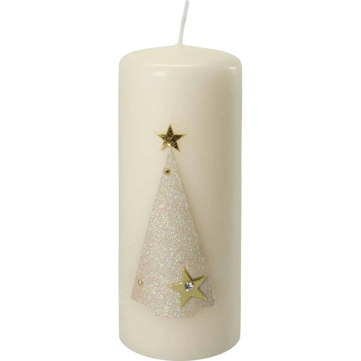 Weihnachtskerze, #2732, 16,5 x 6 cm, creme, Baum