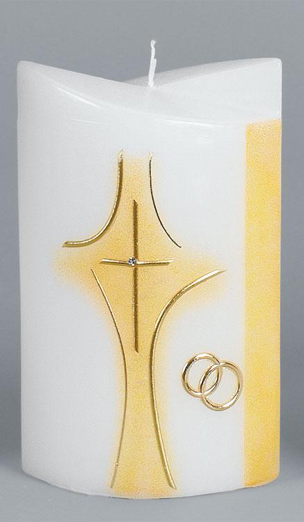 Hochzeitskerze, 2261, Formkerze 180x125x75, gold, ---Abverkauf---
