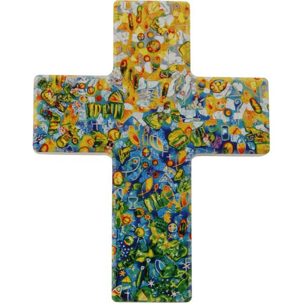 Holzkreuz, 810121, Engstens durchworben, 9 x 7 cm, Holz bedruckt