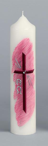 Liturgische Kerze, 2644, 265x60, Wachskreuz, rosa, ---Abverkauf---
