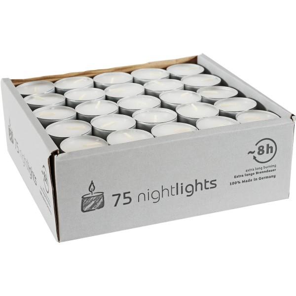 75 Nightlights m. Aluhülle, Ø38x24mm, ~8h, Aktionspreis!