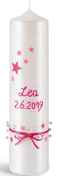 Taufkerze, -Lea-, 250x60, Silberglanzstruktur, pink, silber
