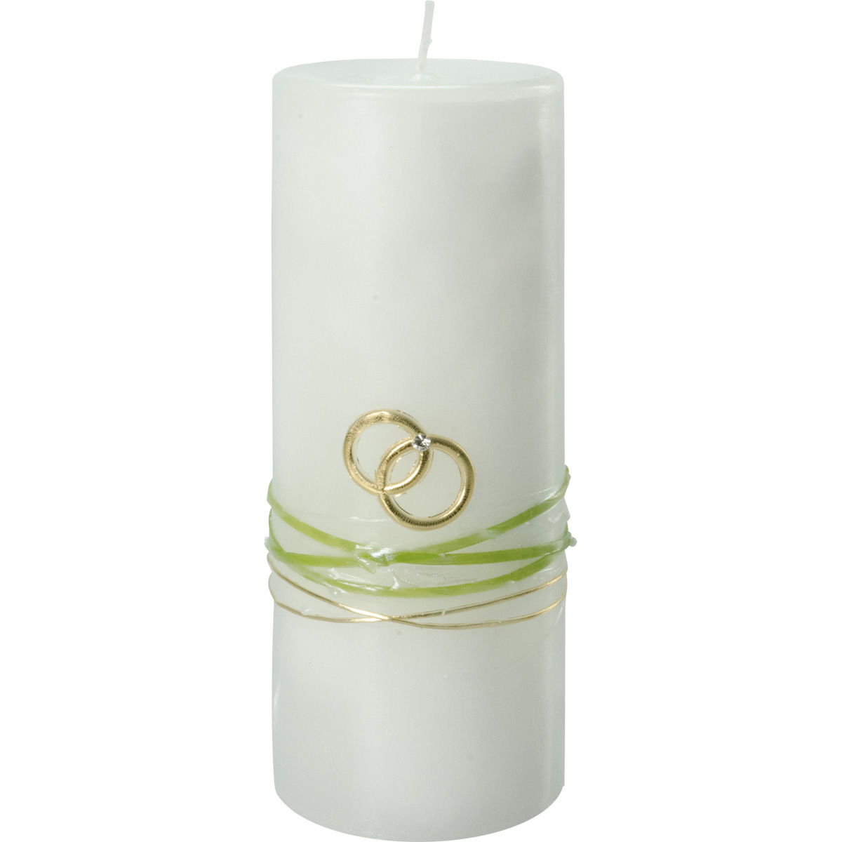 Hochzeitskerze, #2265, Trendkerze 180x70, Ringe, Straßst., grün, gold