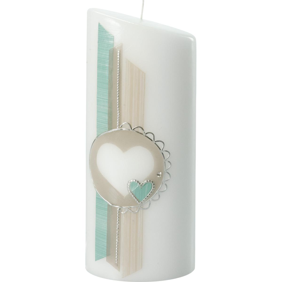Hochzeitskerze, 5018, Oval 230x90x60, Herz, grün-taupe-silber