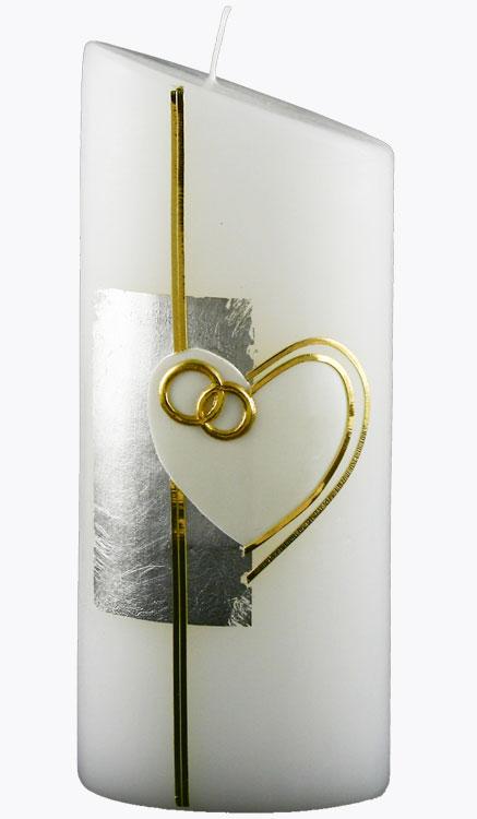 Hochzeitskerze, 4405, Oval 230x90x60, weiß, Herz-silber