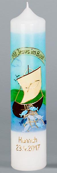 Kommuniontischkerze, 4903, 265x60, weiß, Mit Jesus im Boot