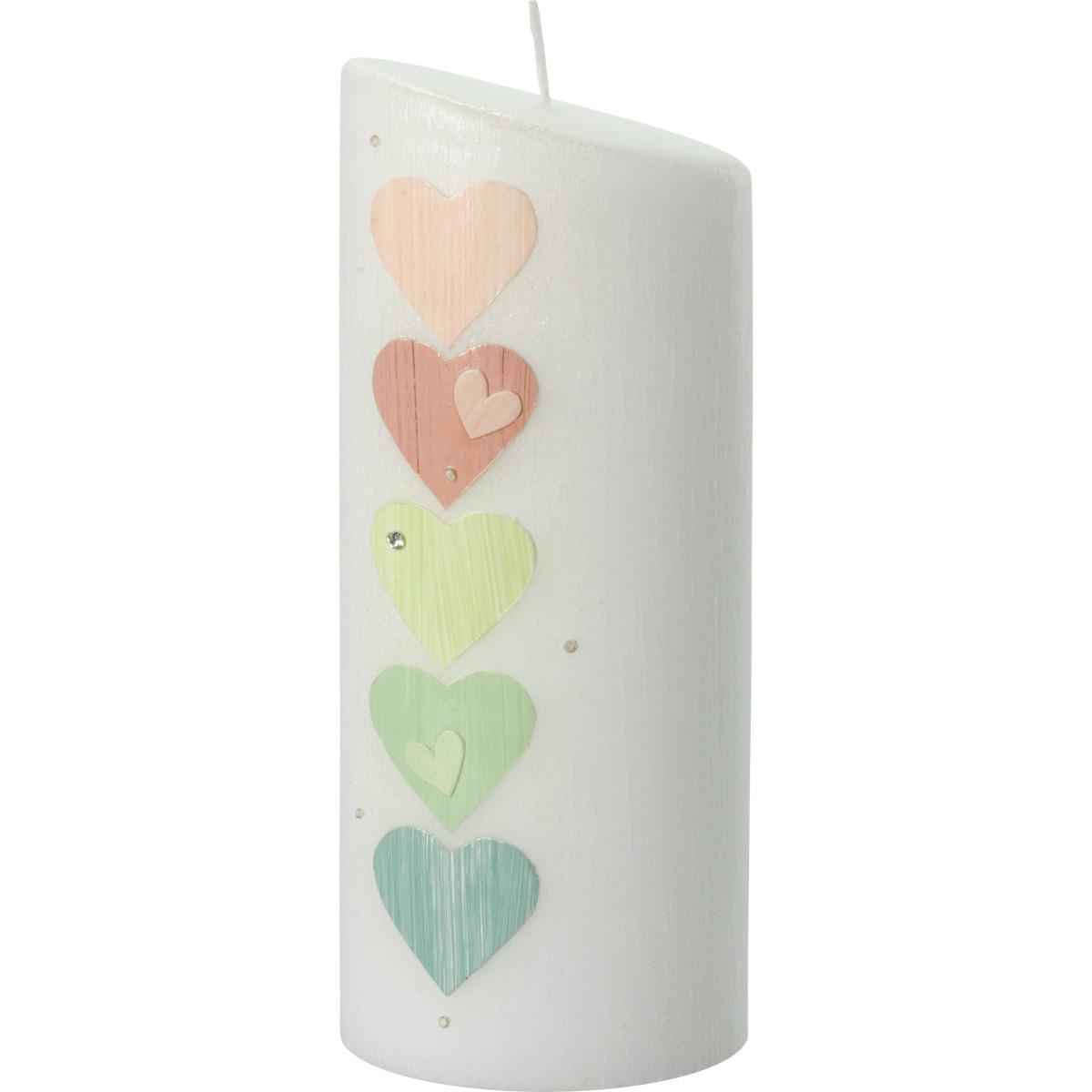 Hochzeitskerze, 5019, Oval 230x90x60, 5Herzen, rosa-grüntöne-silber