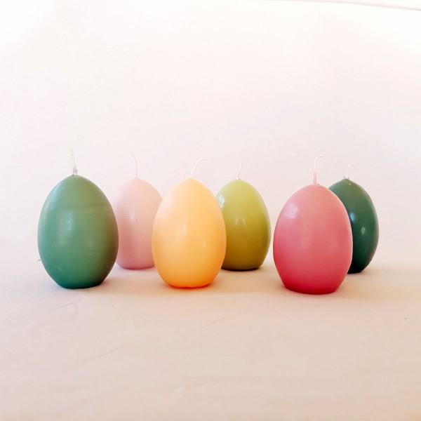 6 Eikerzen, Größe 1, Höhe 6.5 cm, Durchmesser 4.5 cm, Pastellfarben gemischt