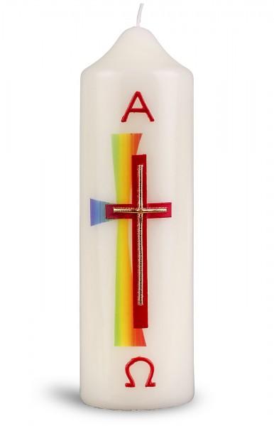 Ostertischkerze, 6046, 165x50, Kreuz rot-gold, A+Ω in rot