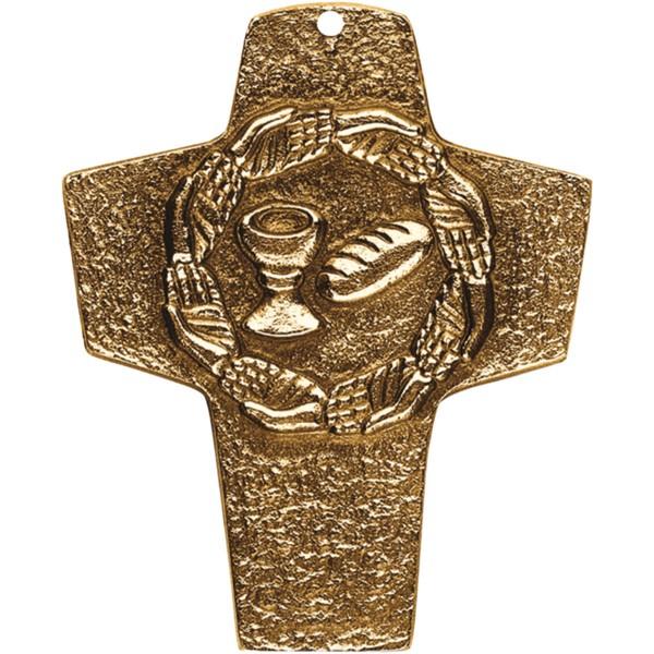 Bronzekreuz 142082, h=10cm, Brot+Wein+Hände