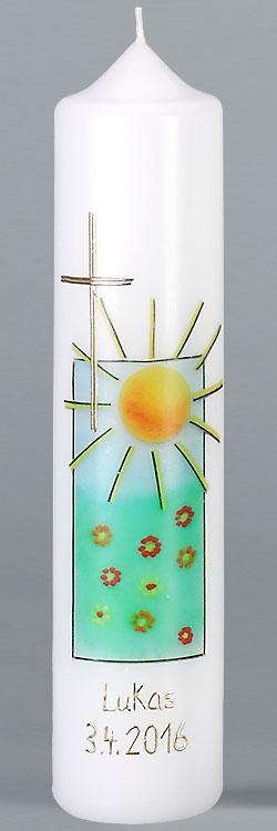 Kommuniontischkerze, F4879, 265x60, weiß, Fotodruck, Sonne