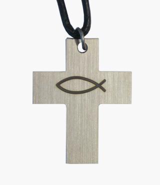Umhängekreuz, 1008, Edelstahl, Fisch, 3x4cm, mit Lederband