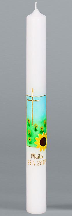 Kommunionkerze, 5905, 400x40, weiß, Sonnenblumenwiese, blau-grün-gold