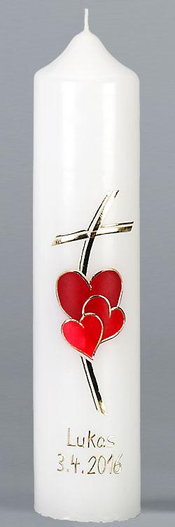 Kommuniontischkerze, 4878, 265x60, weiß, Herz, Liebe Gottes, rot, gold