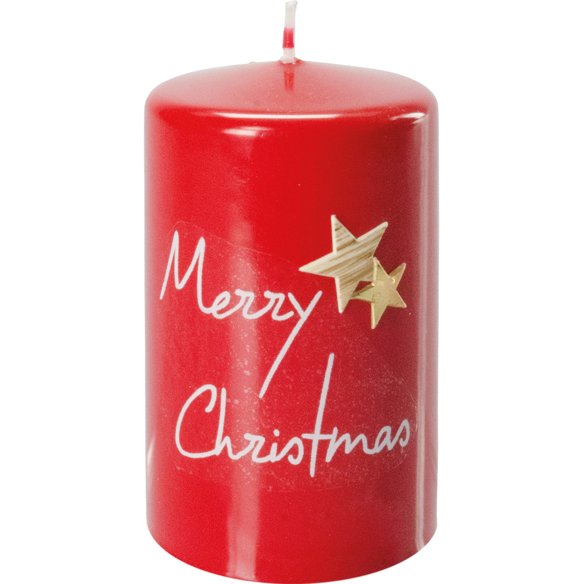 Weihnachtskerze, #3015, 10 x 6 cm, rubin, Merry Christmas